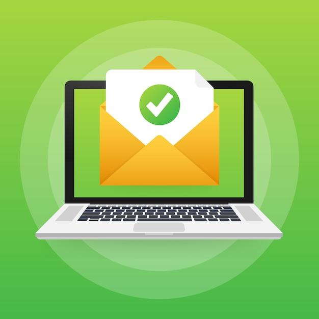 Busta e documento aperti con segno di spunta verde. email di verifica. illustrazione. Vettore Premium
