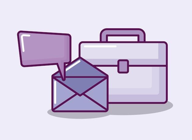 Busta postale con portafoglio e fumetto Vettore gratuito