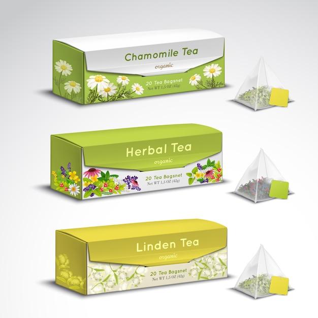 Bustine di tè che imballano insieme realistico Vettore gratuito