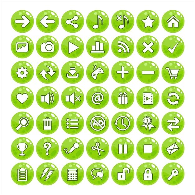 Button gui style jelly color green. Vettore Premium