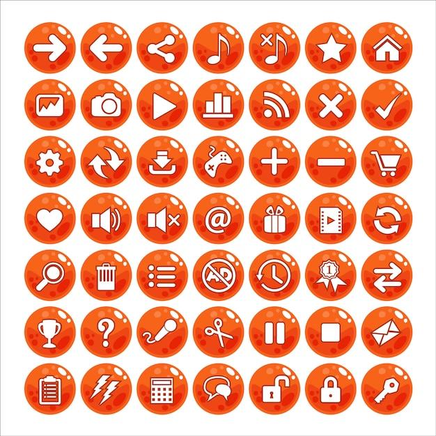 Button gui style jelly color orange. Vettore Premium