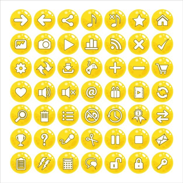 Button gui style jelly color yellow. Vettore Premium