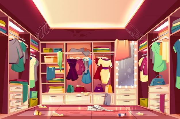 Cabina armadio donna disordinata, camerino interno spogliatoio con abiti sparsi Vettore gratuito