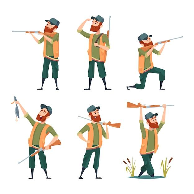 Cacciatori di cartoni animati. vari personaggi di cacciatori in azione pone Vettore Premium