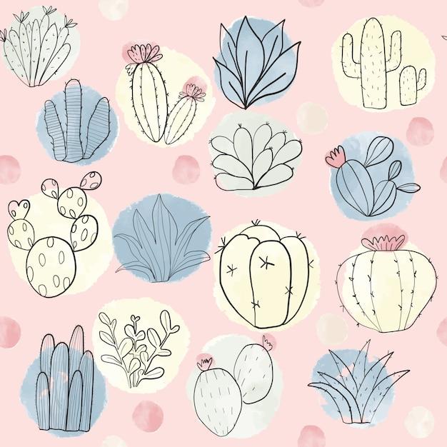 Cactus colorato e succulente seamless Vettore Premium