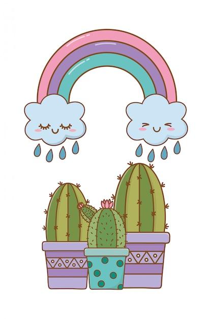 Cactus con nuvola e arcobaleno Vettore Premium