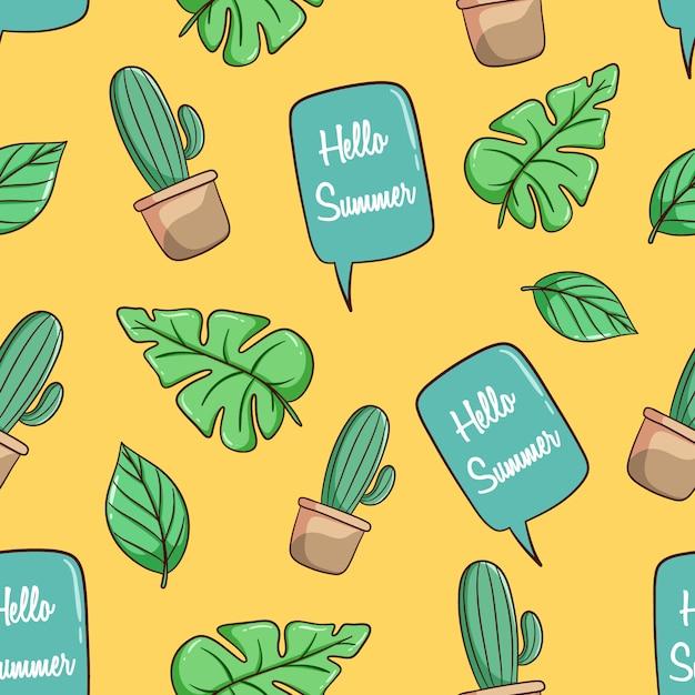 Cactus disegnato a mano, foglie di monstera e modello senza cuciture di chiacchierata bolla Vettore Premium