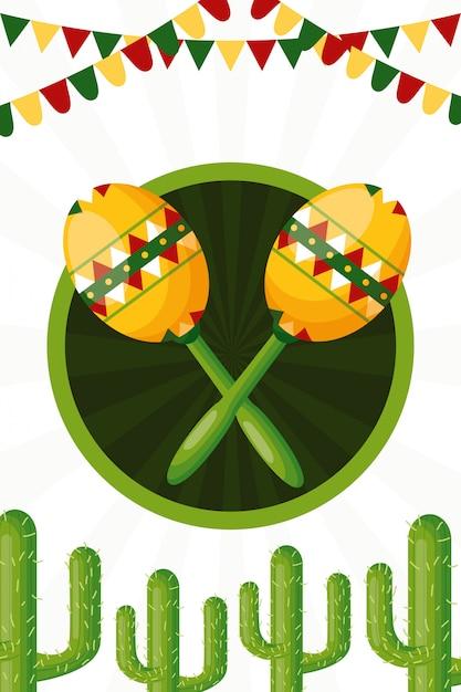 Cactus e maracas dell'illustrazione della cultura messicana Vettore gratuito