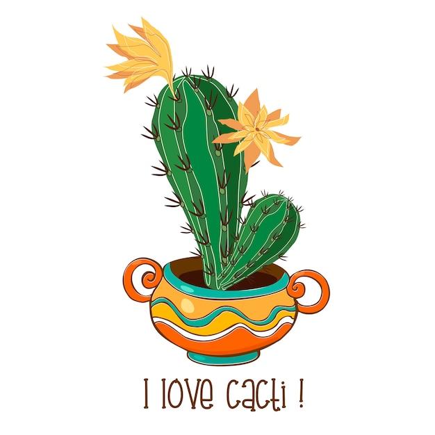 Cactus in una bella pentola di terracotta Vettore Premium