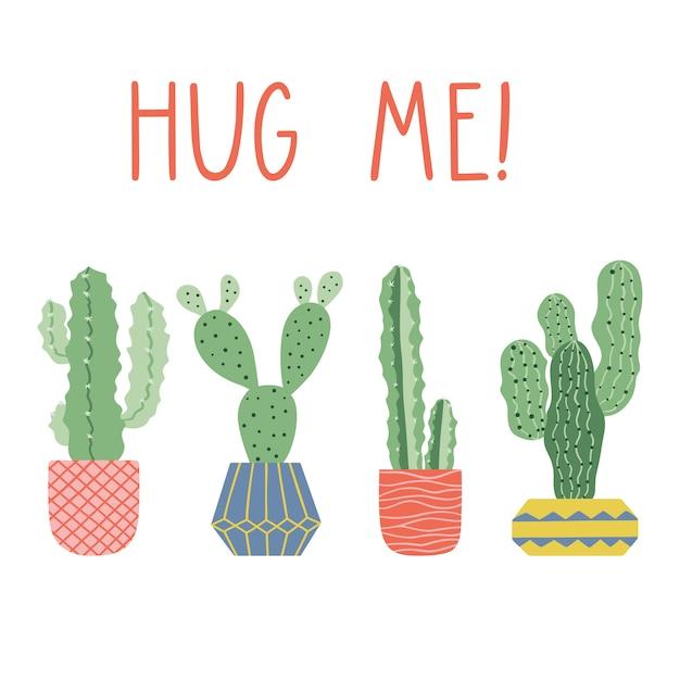 Cactus in vaso, disegno di carta vettoriale. Vettore Premium