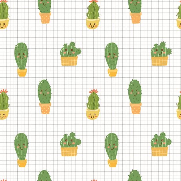 Cactus kawaii senza soluzione di continuità Vettore Premium