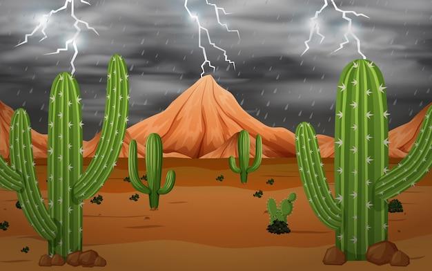 Cactus nella tempesta Vettore gratuito