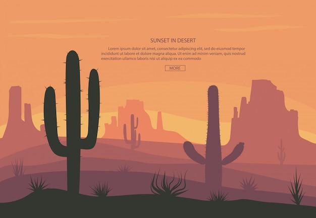 Cactuse e montagne nel fondo dell'insegna del paesaggio del deserto Vettore Premium