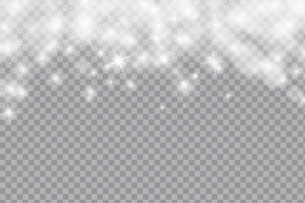 Caduta brillante neve o fiocchi di neve su sfondo trasparente Vettore Premium