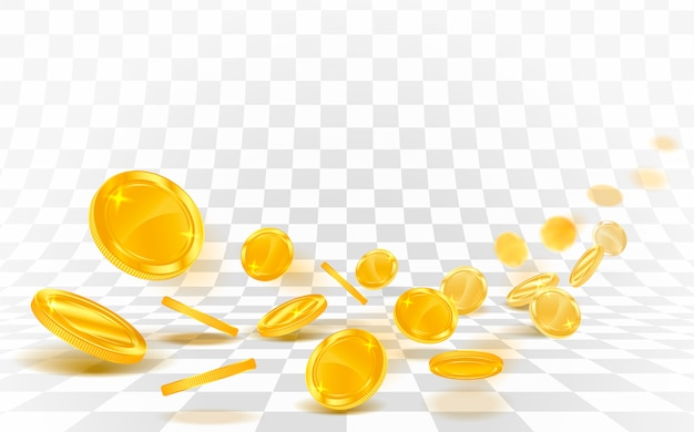 Caduta delle monete di oro sparsa su una priorità bassa bianca. Vettore Premium