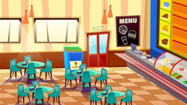 Cafe bar o bakery interior con illustrazione di tavoli e sedie Vettore Premium
