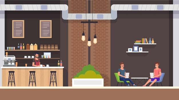 Cafe interior. barista e visitatori. Vettore Premium