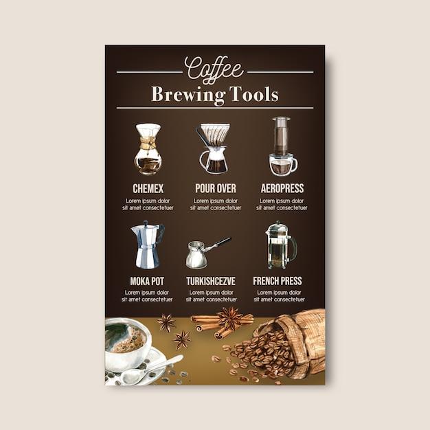 Caffè arabica fagioli arrosto bruciano con sacchetto. caffettiera, illustrazione dell'acquerello infographic Vettore gratuito