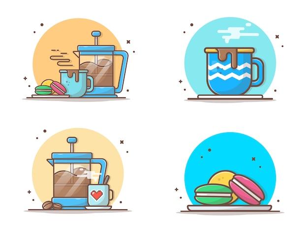 Caffè caldo con amaretti e teiera icona illustrazione Vettore Premium