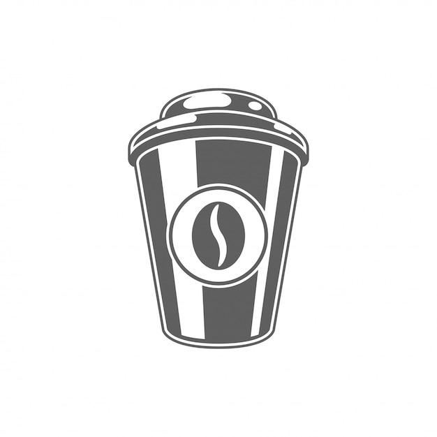Caffè da andare tazza con l'illustrazione di vettore del fagiolo. Vettore Premium