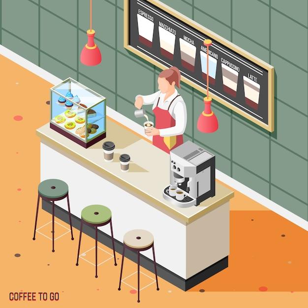 Caffè di strada sfondo isometrico Vettore gratuito