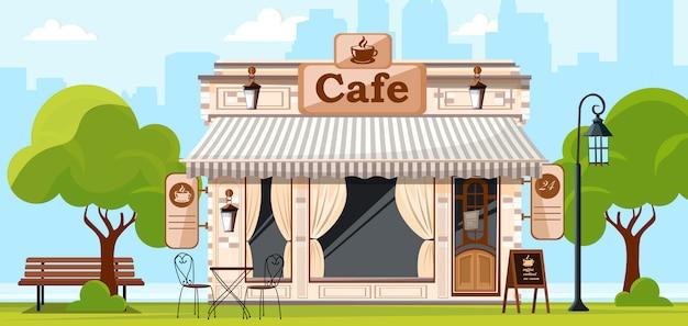 Caffè. facciata di un negozio di caffè o bar. illustrazione della via della città Vettore Premium