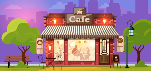 Caffè. facciata di un negozio di caffè o bar. via della città. Vettore Premium