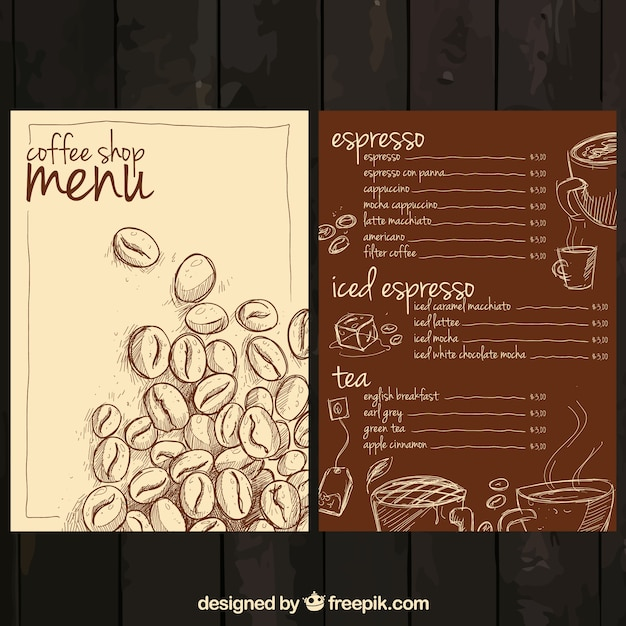 Caffè menu disegnata a mano Vettore gratuito