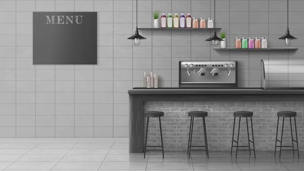 Caffè moderno, interno realistico di vettore della caffetteria Vettore gratuito