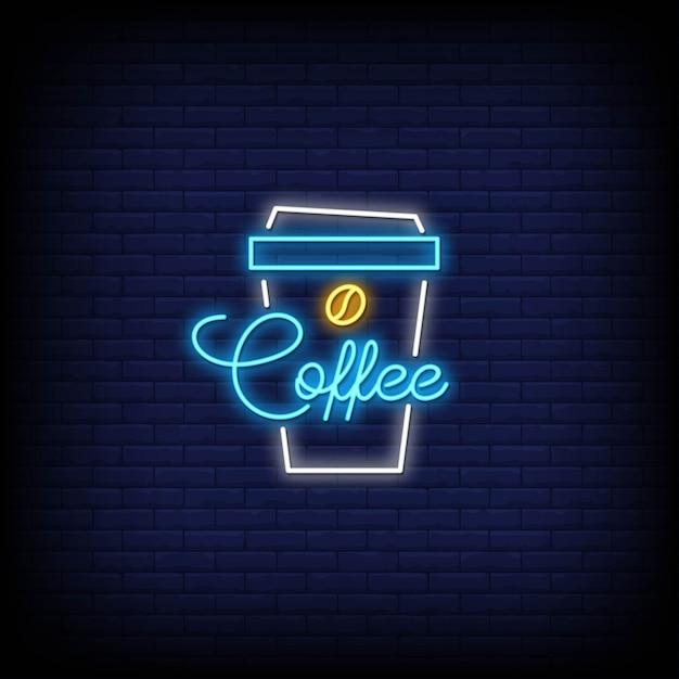 Caffè nel simbolo di stile delle insegne al neon Vettore Premium