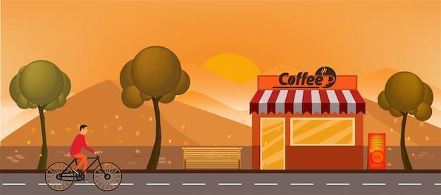 Caffetteria che sviluppa l'illustrazione orizzontale piana di vista frontale Vettore Premium
