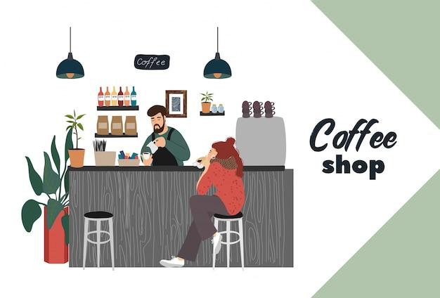 Caffetteria con visitatore giovane ragazza si siede in un bar counter barista fa una bevanda calda Vettore Premium