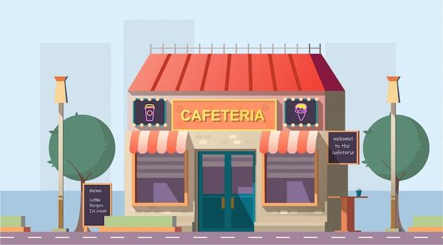 Caffetteria lungo la strada o edificio con caffè sulla strada con menu Vettore gratuito