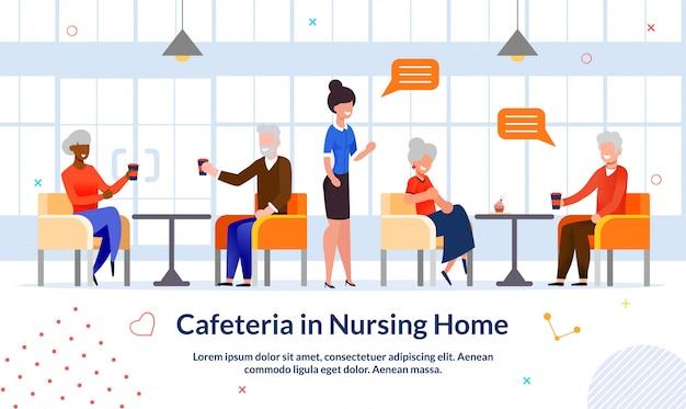 Caffetteria nell'illustrazione piana di pubblicità della casa di cura Vettore Premium