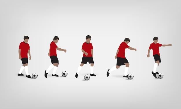 Calciatore che gioca e che dà dei calci al pallone da calcio su fondo bianco. Vettore Premium