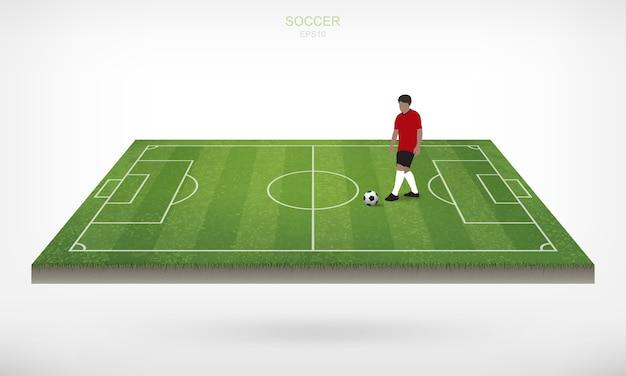 Calciatore e palla di calcio di calcio nell'area del campo di calcio con fondo bianco. Vettore Premium
