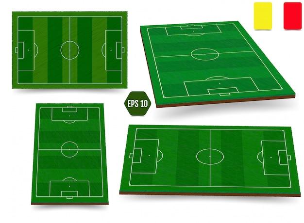 Calcio, campo di calcio europeo in vista dall'alto diversi angoli poi Vettore Premium