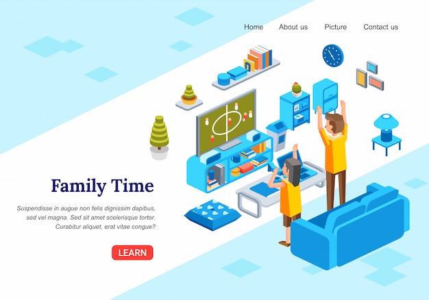 Calcio di sorveglianza del bambino e del padre sulla televisione nell'illustrazione isometrica di vettore 3d del salone Vettore Premium