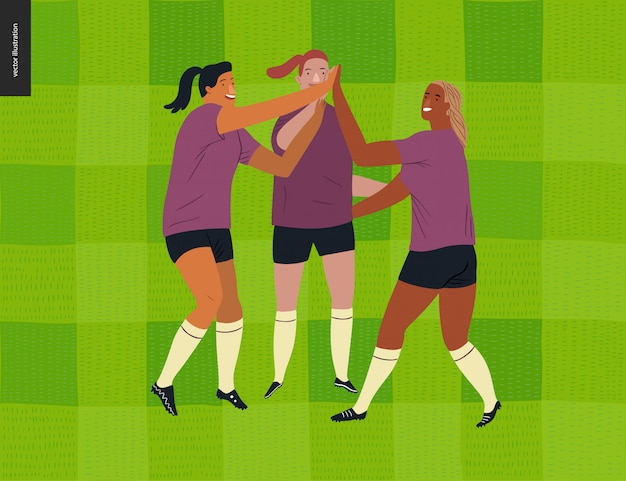 Calcio europeo femminile, calciatore Vettore Premium