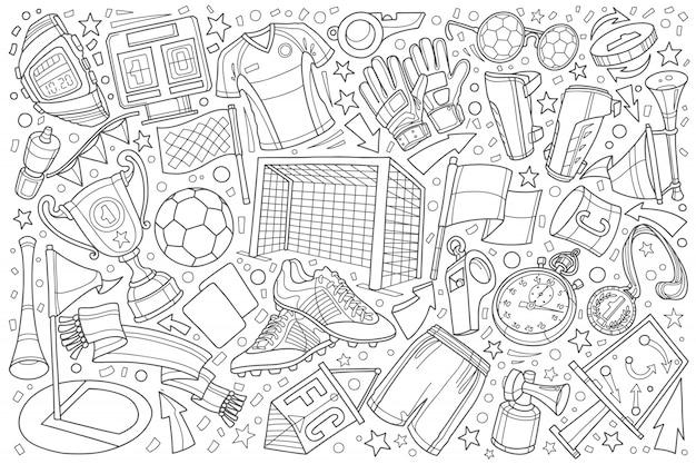 Calcio, fondo stabilito dell'illustrazione di scarabocchio di calcio Vettore Premium