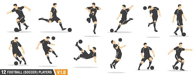 Calcio, giocatori di calcio Vettore Premium