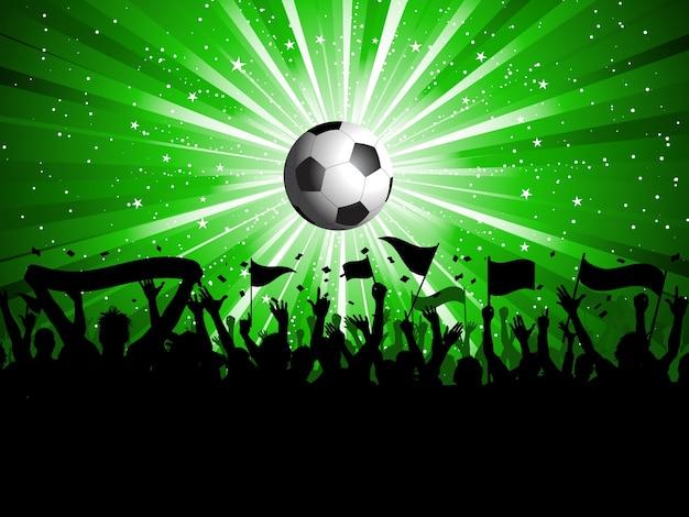 Calcio sfondo con la folla in possesso di striscioni e bandiere Vettore gratuito