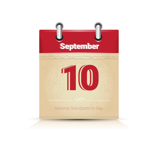 Calendar page happy grandparents day settembre festività Vettore Premium