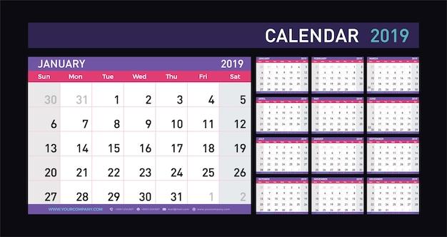 Calendar planner 2019 anni Vettore Premium