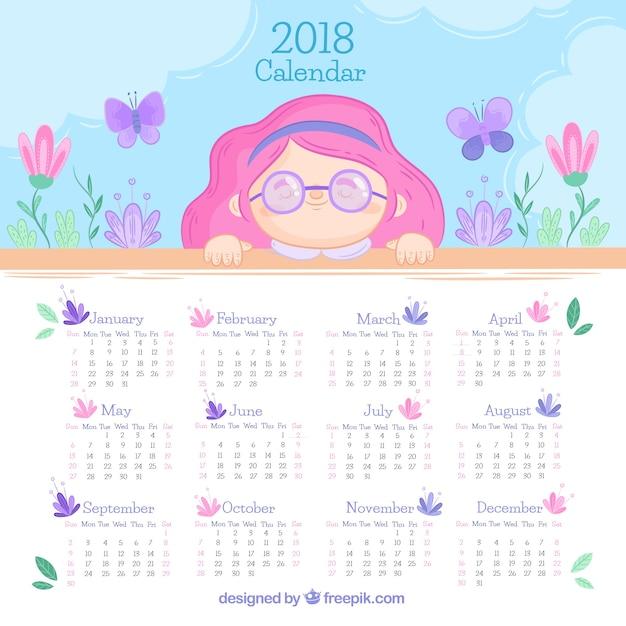 Calendario 2018 con bonita niña Vettore gratuito