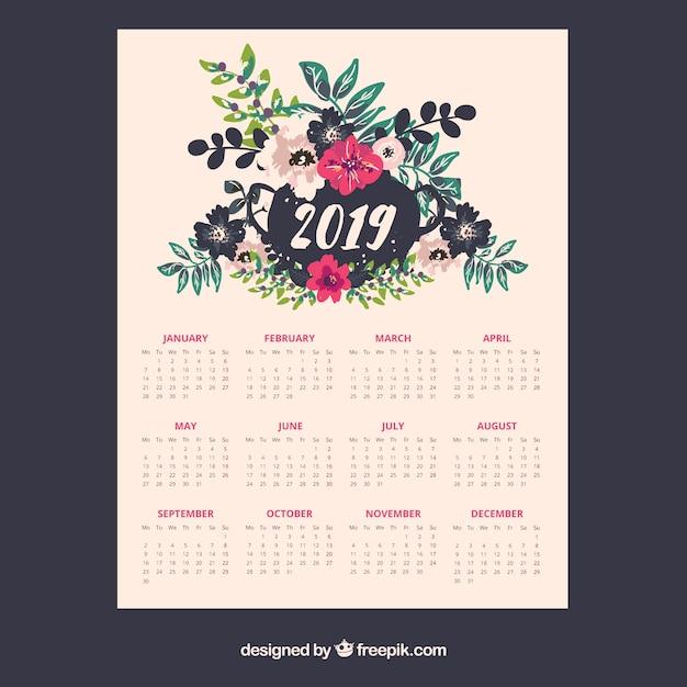 Calendario 2019 Con Elementi Floreali Scaricare Vettori Gratis
