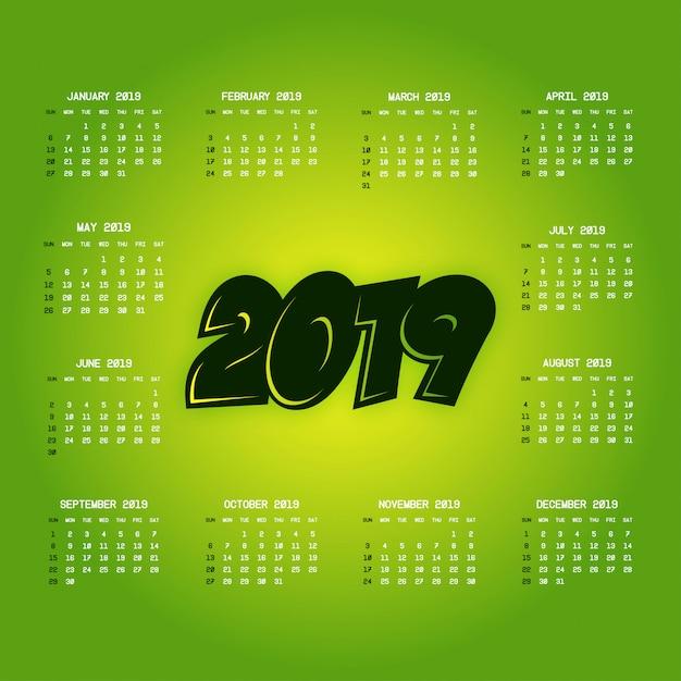 Calendario 2019 con il vettore di design creativo Vettore gratuito