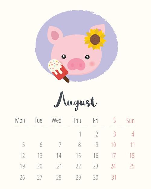 Calendario 2019. maiale carino. mese di agosto. Vettore Premium