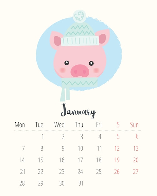 Calendario 2019. maiale carino. mese di gennaio Vettore Premium
