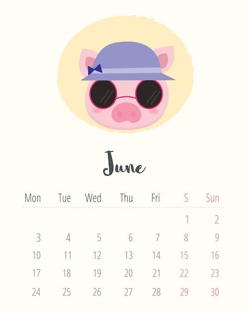 Calendario 2019. maiale carino. mese di giugno Vettore Premium